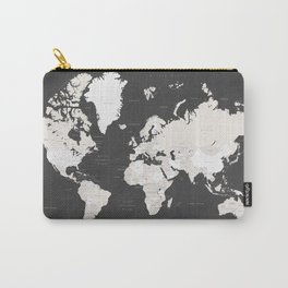 Chalkboard world map with countries and states labelled Carry-All Pouch