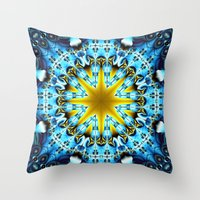 Throw Pillows featuring Magical fractal star in gold and blue by thea walstra