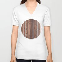 wooden V-neck T-shirts featuring wooden by Katharina Nachher