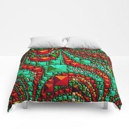 Abstract Gems in Aqua and Red Comforters