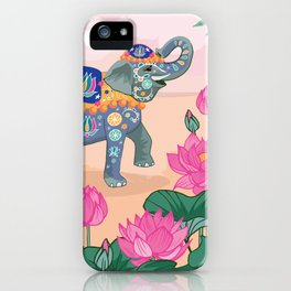 Elephant and Lotus Flowers iPhone Case