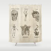 anatomy Shower Curtains featuring Anatomy lessons by Sara Elan Donati