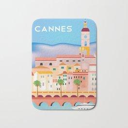 Cannes, France- Skyline Illustration by Loose Petals Bath Mat