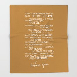 Family Manifesto (Orange) Throw Blanket