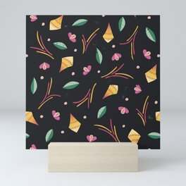 Vibrant Folk Art Floral Pattern Mini Art Print
