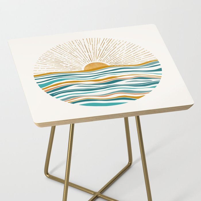 The Sun and The Sea - Gold and Teal Side Table