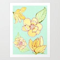 Summer flowers blue Art Print