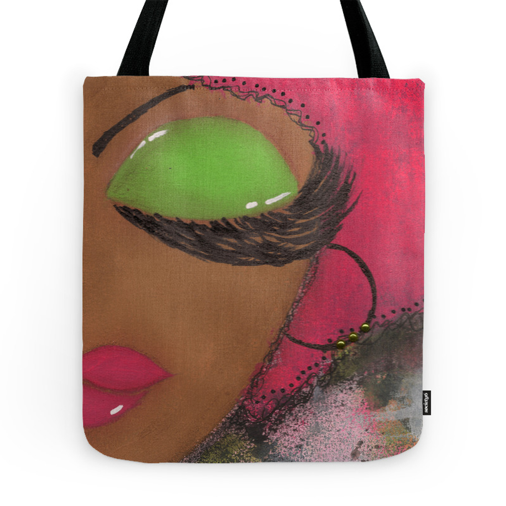 Pink and Green Sassy Girl Tote Purse by tiaresmithdesigns (TBG3387226) photo