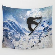 Snowboarder In Flight Wall Tapestry