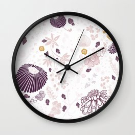 Field of Flowers on White Wall Clock