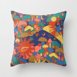 Celestial Mushroom Dream Throw Pillow