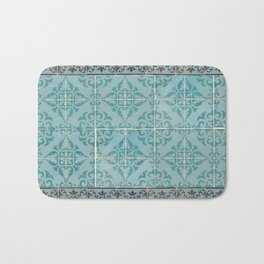 Victorian Turquoise Ceramic Tiles Bath Mat
