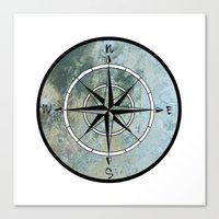 compass Canvas Prints featuring Compass by madbiffymorghulis