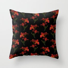 Red Lily Flowers Throw Pillow