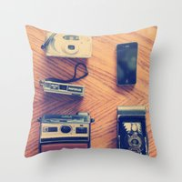 cameras Throw Pillows featuring Cameras by tycejones