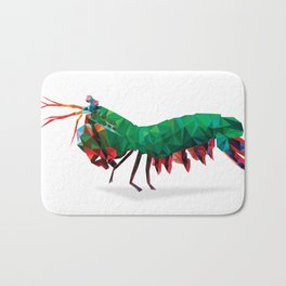 Geometric Abstract Peacock Mantis Shrimp  Bath Mat