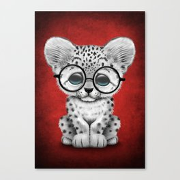 Cute Snow Leopard Cub Wearing Glasses on Deep Red Canvas Print