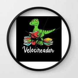Velocireader Books Dino Raptor Gift Design Wall Clock