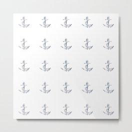 Nautical Seafarer Anchor Retro Seamless Pattern Metal Print