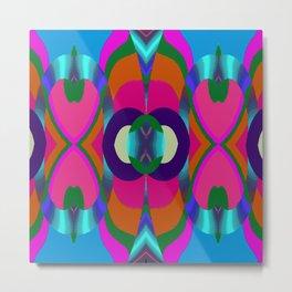 Arrows & Rings on Pink,Blue,Green,Orange,Purple,Aqua Metal Print
