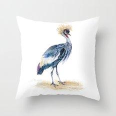 Grey Crowned Crane Bird Throw Pillow