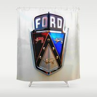ford Shower Curtains featuring Ford Crest by Dragons Laire