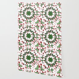 Green Red and Silver Alien Mandala Pattern Wallpaper