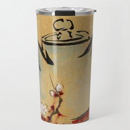 Vintage Japanese Teapot Painting Travel Mug