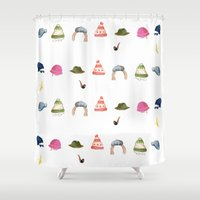 hat Shower Curtains featuring Hat Nation by Kathryn Burton