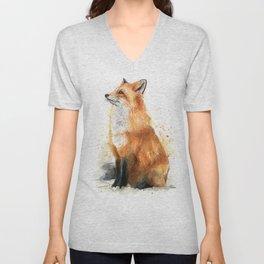 Red Fox Pattern Unisex V-Neck