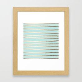 Simply Drawn Stripes White Gold Sands on Succulent Blue Framed Art Print