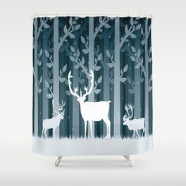 Snow Caribou Shower Curtain