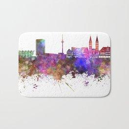 Bremen skyline in watercolor background Bath Mat
