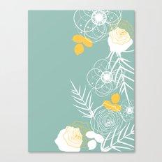 Aqua Retro Floral Canvas Print
