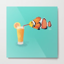 The Clown Fish Drinks Metal Print