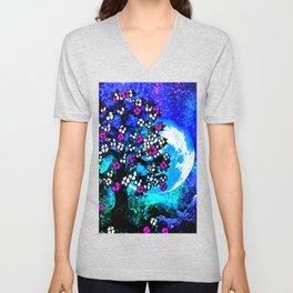 A TREE A MOON AND STARS AT NIGHT Unisex V-Neck