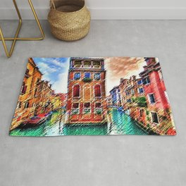 Canals of Venice, Italy Watercolor by Jéanpaul Ferro Rug
