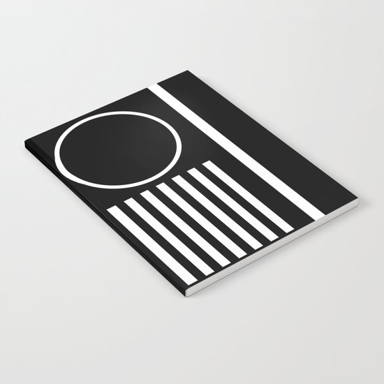 Retro Marble 2 - Abstract, geometric, black and white, bold, modern design Notebook