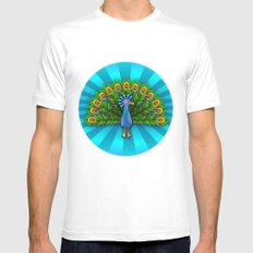 Peacock in Blue Rays White MEDIUM Mens Fitted Tee