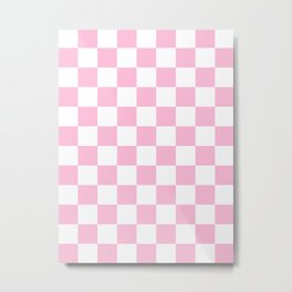 Checkered - White and Cotton Candy Pink Metal Print
