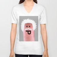 einstein V-neck T-shirts featuring einstein by Panic Junkie