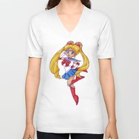 sailormoon V-neck T-shirts featuring Chibi Serentiy by ApocalypseToo Studios