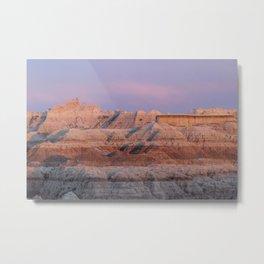 Pink Badlands Sunset Landscape Metal Print