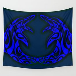 Dolphin Twins Wall Tapestry