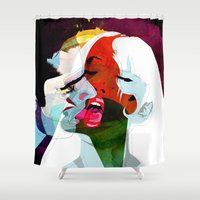 erotic Shower Curtains featuring Kiss by Alvaro Tapia Hidalgo
