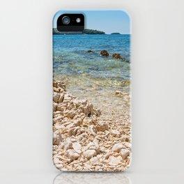 Beautiful rocky beach, blue sea and islands in Istria, Croatian coast iPhone Case