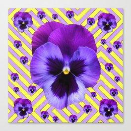 PURPLE PANSY  FLOWERS & YELLOW PATTERNS  GARDEN Canvas Print