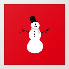 Christmas Snowman-Red Canvas Print