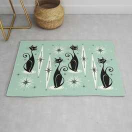 Mid Century Meow Retro Atomic Cats Mint Rug