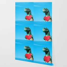 Tiny Arms, Big Heart: Tyrannosaurus Rex with Red Heart Wallpaper